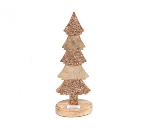 Wooden Copper Jeweled Christmas Tree
