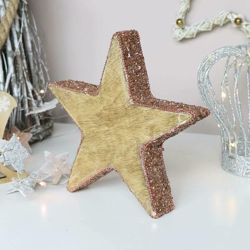 Wooden Copper Jeweled Christmas Star