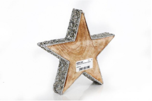 Wooden Silver Jeweled Christmas Star