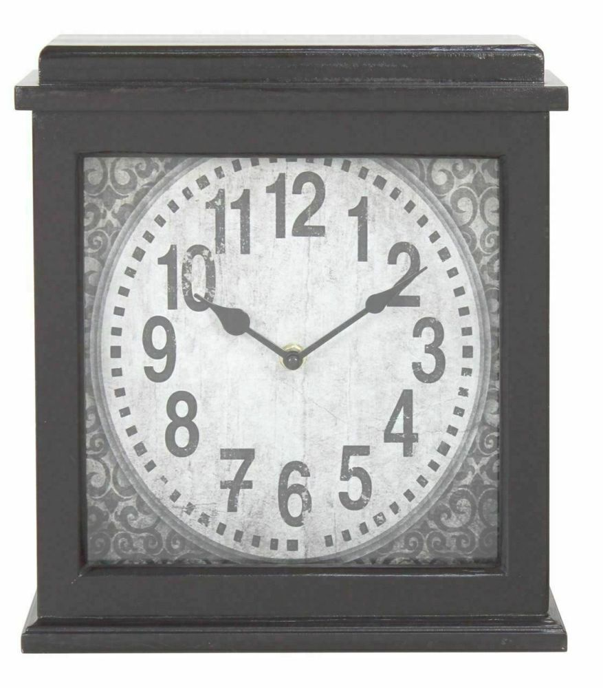 Dark Brown Wood Rectangular Mantle Clock Vintage Style