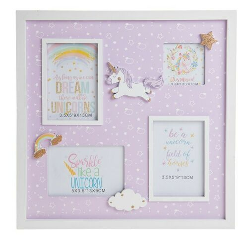Unicorn Lullaby Quad Aperture Photo Collage Picture Frame