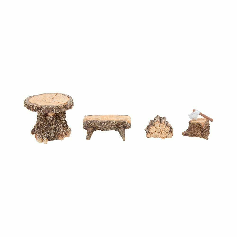 Woodland Lodging Set Miniature Fairy Village Logs Stool And Table Accessori