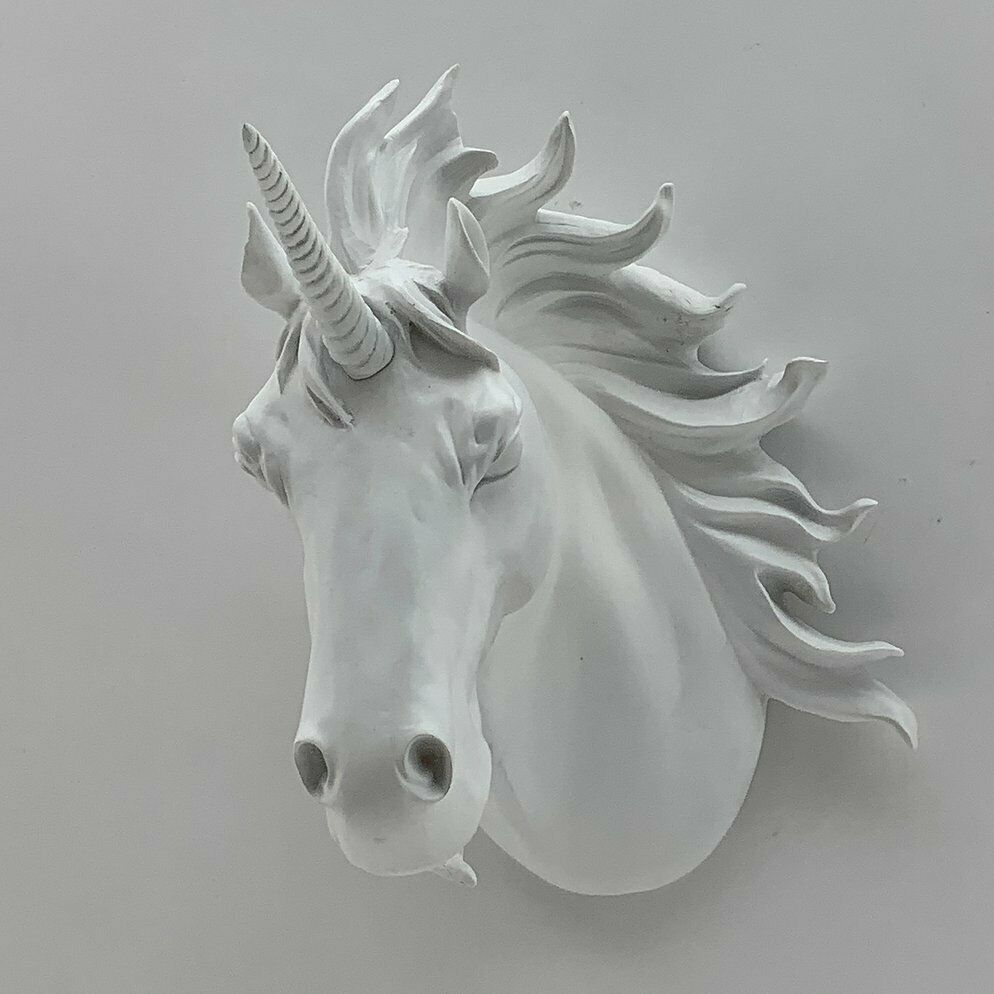 Large White Unicorn Head Bust Wall Hanging Ceramic 50cm