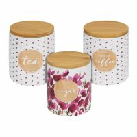 Ceramic Tea Coffee Sugar Jars Kitchen Storage Canisters With Wooden Lids