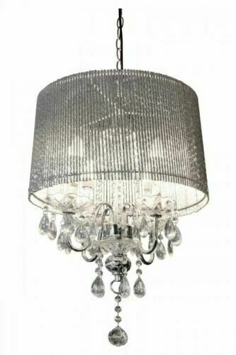 Beaumont Designer Four Arm Chandelier - Sparkling Silver Tubes Shade