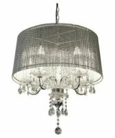 Beaumont Designer Five Arm Chandelier - Sparkling Silver Tubes Shade
