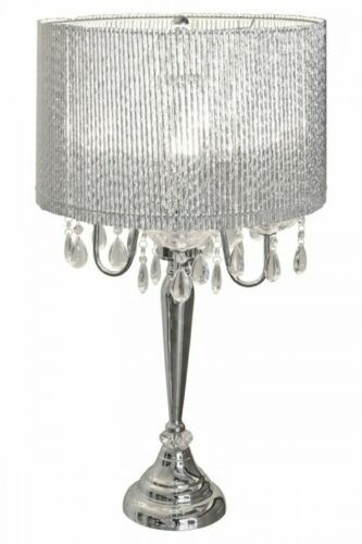 Beaumont Designer Four Arm Table Lamp - Sparkling Silver Tubes Shade