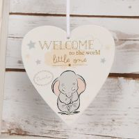 DISNEY Magical Beginnings Dumbo Hanging Heart Plaque - Welcome to the World