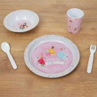 Disney True Princess Pink 5 Piece Melamine Set, Plate, Bowl, Cup, Cutlery