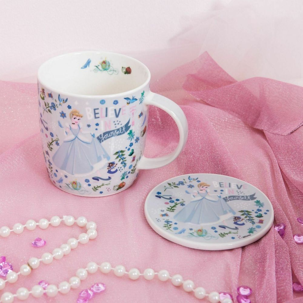 DISNEY Princess Cinderella Mug and Coaster Set Cup Gift Boxed Set