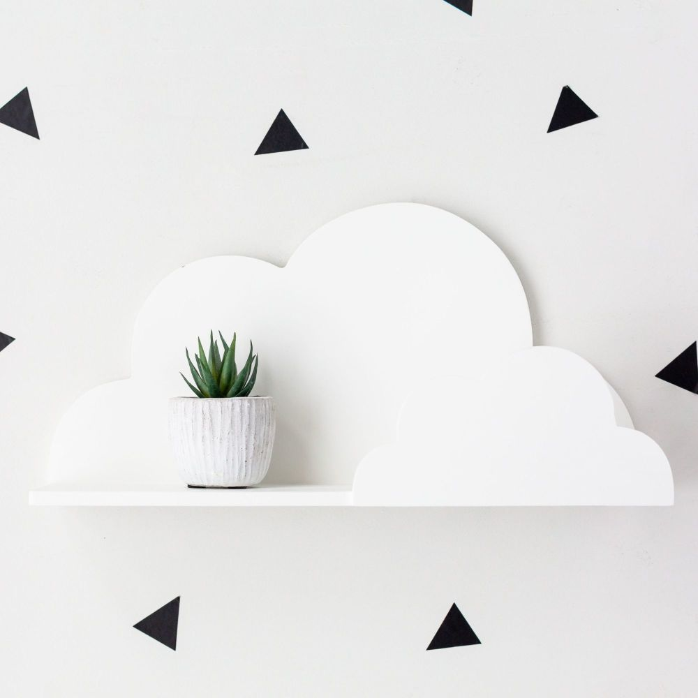 Small White Cloud Shaped Wall Shelf