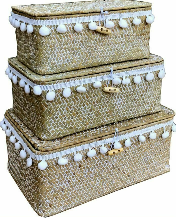 Set of 3 Pom Pom Storage Baskets