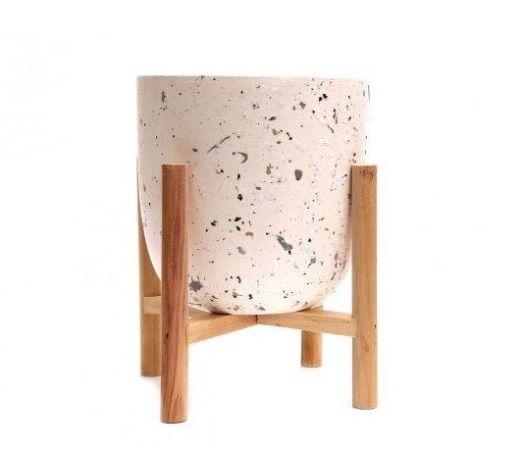 Terrazzo Marble Fleck Candle Pot White