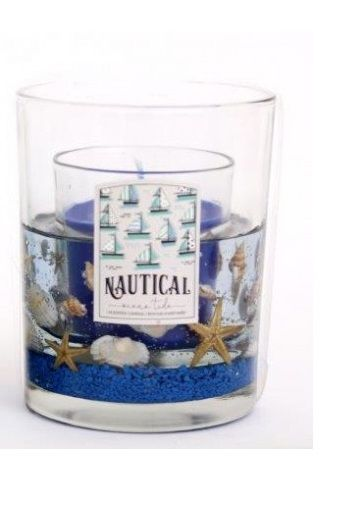 Sea Life Gel Wax Candle Dark Blue