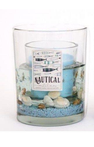 Sea Life Gel Wax Candle Light Blue