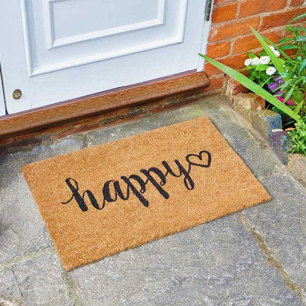 Happy Script Heart Coir Doormat