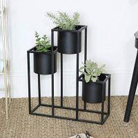 Black Metal Triple Planter Plant Pot Holder