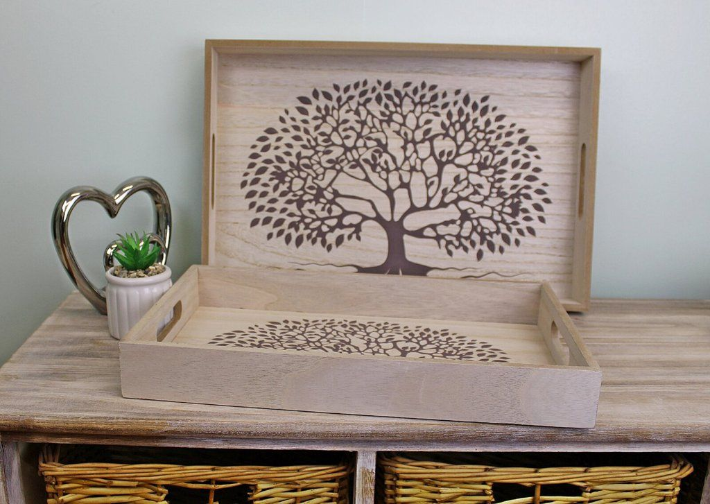 Set of 2 Tree of Life Wooden Trays