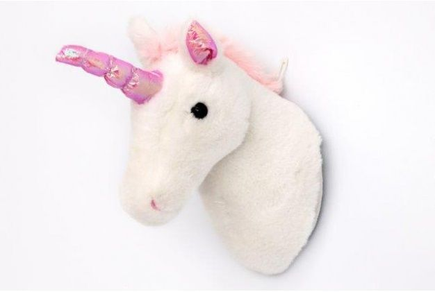 White Plush Unicorn Head Bust Wall Hanging