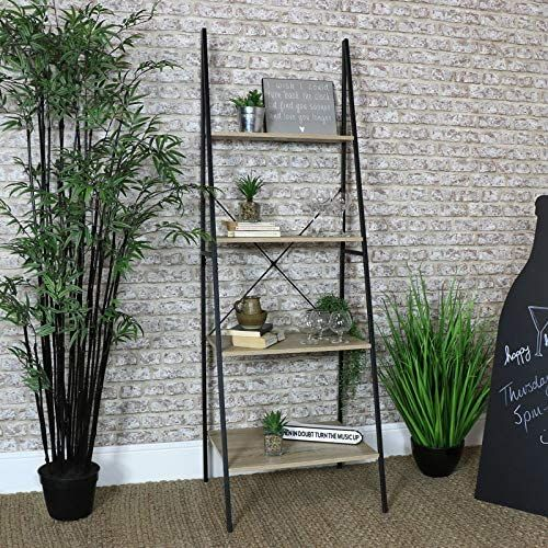 Tall Ladder Bookcase Shelf Unit