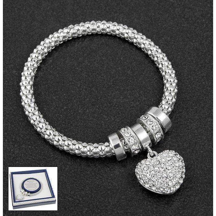 Equilibrium Diamante Heart Charm Bracelet
