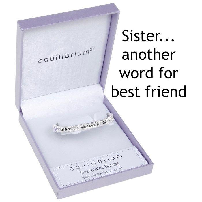 Equilibrium Sister Silver Plated Sentiment Bracelet