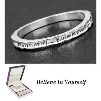 Equilibrium Silver Plated Bangle Believe in Yourself Bracelet