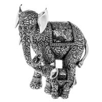 Silver Mosaic Rococo Rose Jumbo Elephant With Baby Ornament
