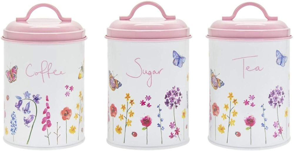 Butterfly Garden Pink Tea Coffee & Sugar Tins