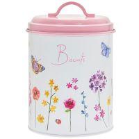 Butterfly Garden Pink Biscuit Tin