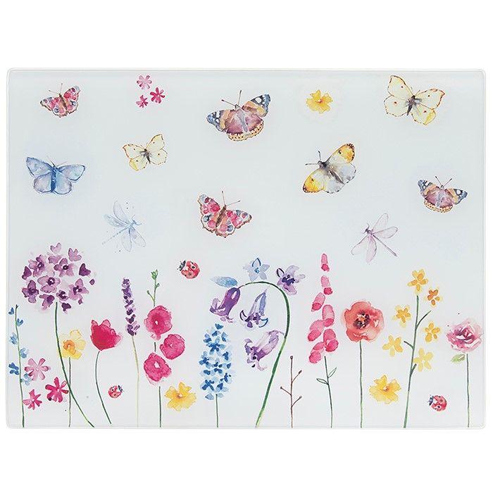 Butterfly Garden Pink Glass Cutting Board