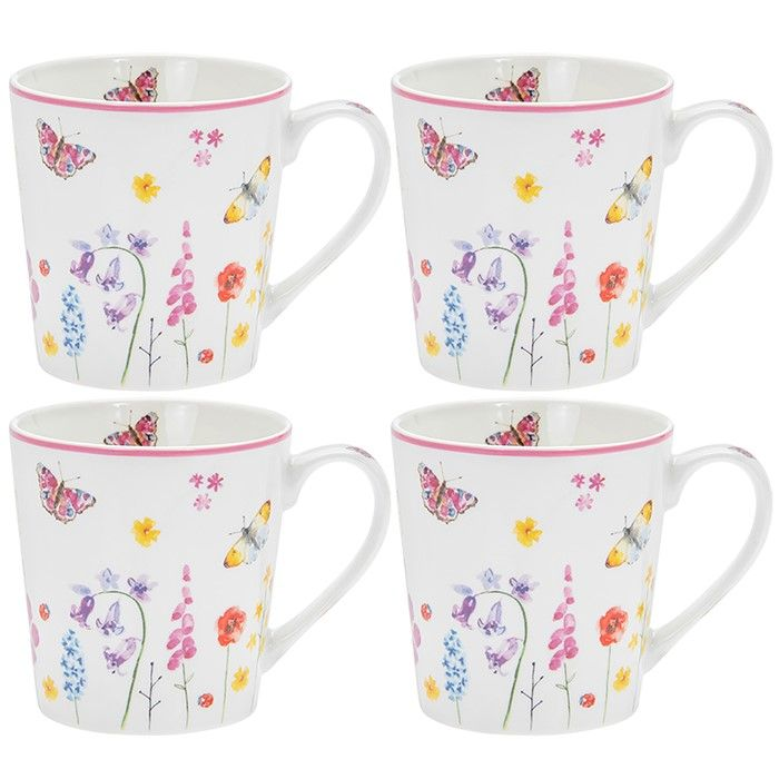 Butterfly Garden Pink Set of 4 Gift Boxed Mugs