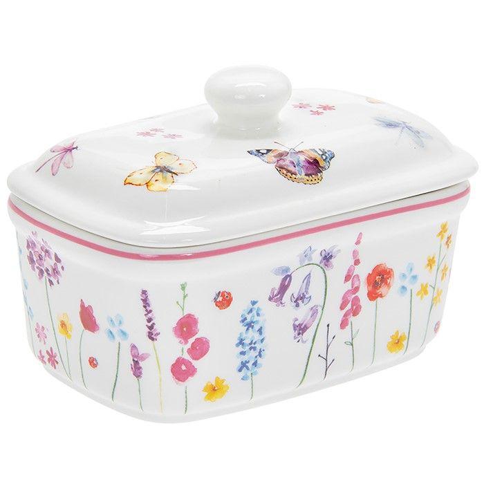Butterfly Garden Pink Butter Dish