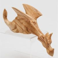 Large Hand Carved Wood DRAGON Shelf Sitter