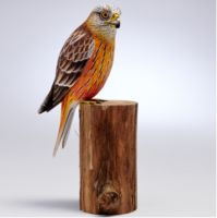 Large Red Kite Hand Carved Painted Bird on Wood Log
