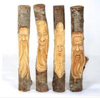 1 Meter Hand Carved Wooden Forest Green Man Full Trunk Unvarnished