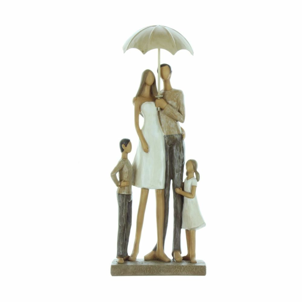 Rainy Day Collection Family of Four with Umbrella Figurine