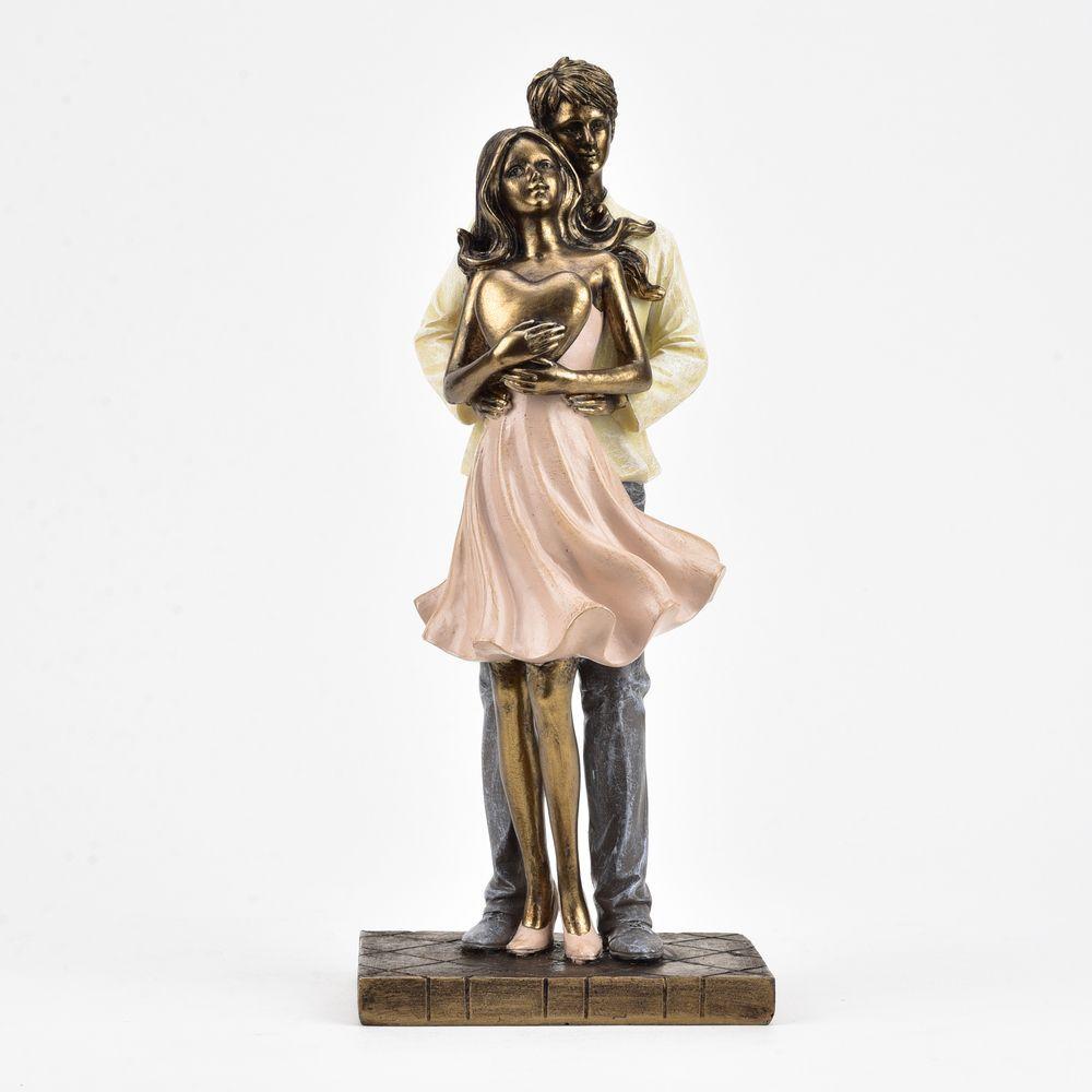 Juliana Embracing Couple with Heart Figurine