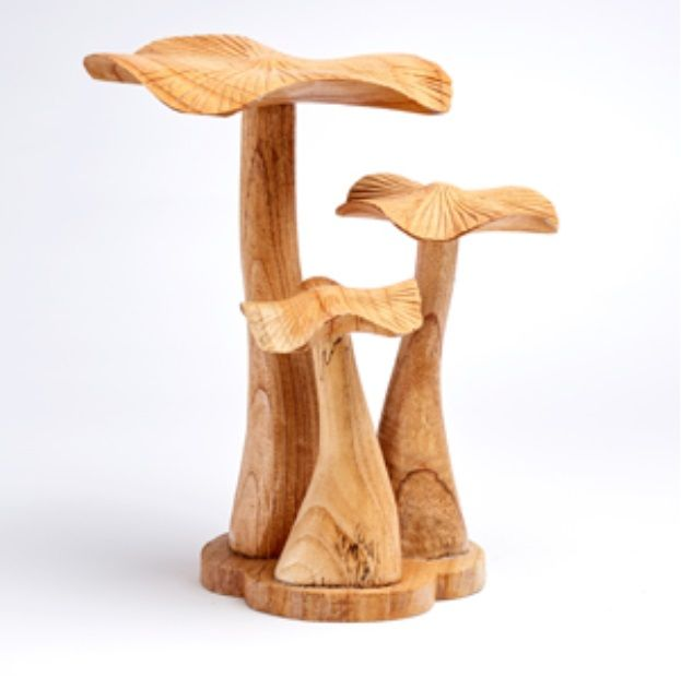 Triple Mushroom Decorative Display 32cm