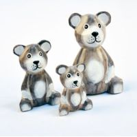 Set of 3 Wooden Teddy Bears