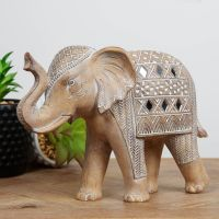 Carved Sandstone Effect Elephant Ornament With Mirror Mosaic