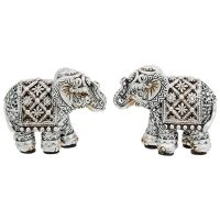 Silver Diamond Pair of Mini Elephants Ornaments