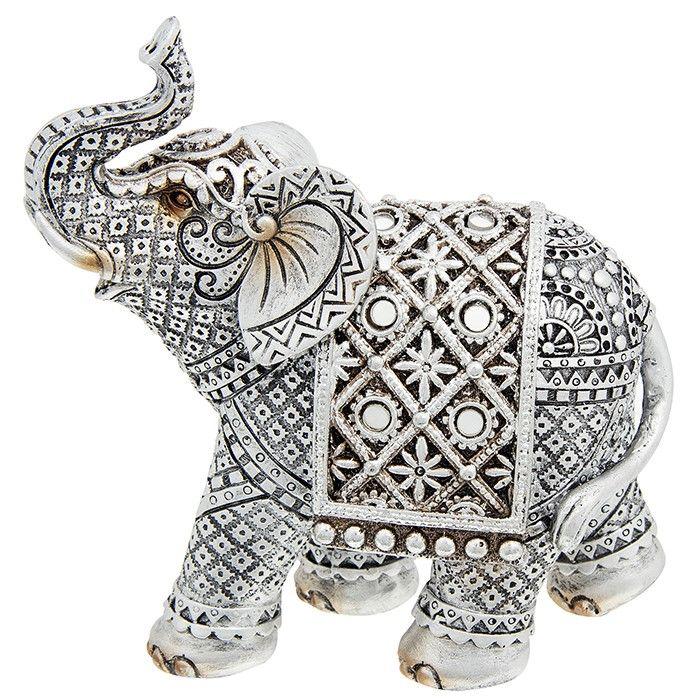 Silver Diamond Medium Elephant Ornament