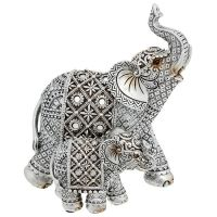 Silver Diamond Mum & Baby Elephant Ornament