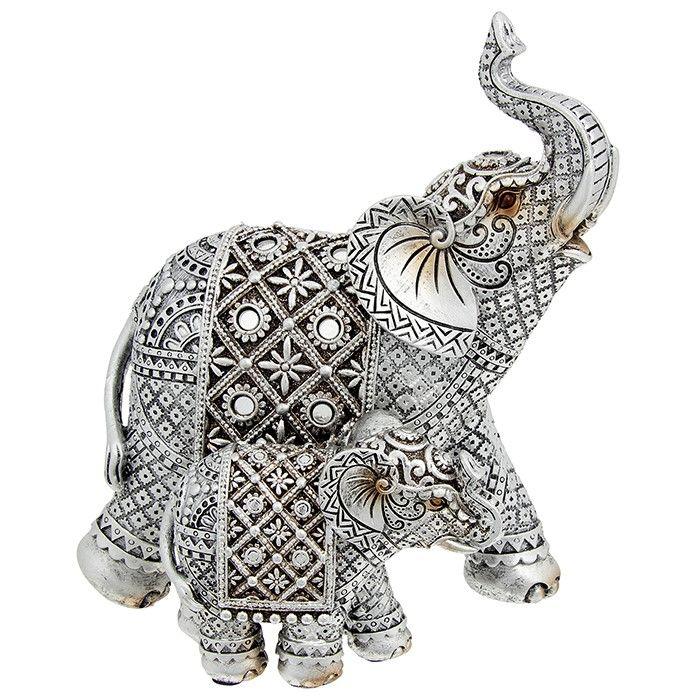 Silver Diamond Mum & Baby Elephant Ornament