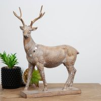Carved Sandstone Effect Stag Ornament With Mirror Mosaic
