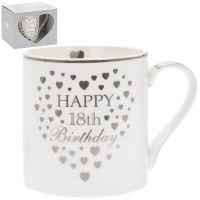Heart Happy 18th Birthday Mug Silver & White