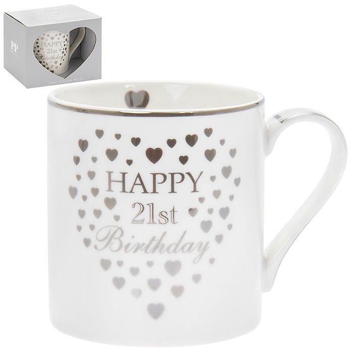 Heart Happy 21st Birthday Mug Silver & White