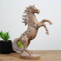 Carved Sandstone Effect Horse Ornament With Mirror Mosaic Detailing