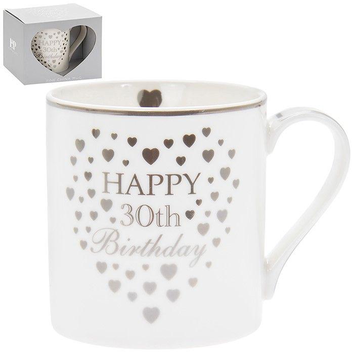 Heart Happy 30th Birthday Mug Silver & White